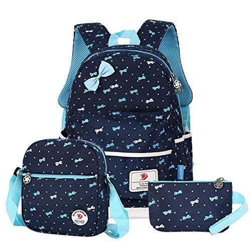 Vbiger 3 in 1 School Bag Waterproof Nylon Backpacks Lunch Bags Pencil Case (Dark Blue1) by VBIGER