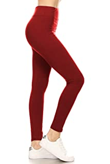 Solid Leggings Buttery Soft Black Olive Red Navy Burgundy ONE SIZE OS
