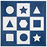 Foam Floors Extra Large Soft Interlocking Floor Mat, Geometric Shapes for Babies and Kids, Safe Thick Non-Toxic, Navy and White Boys Playroom