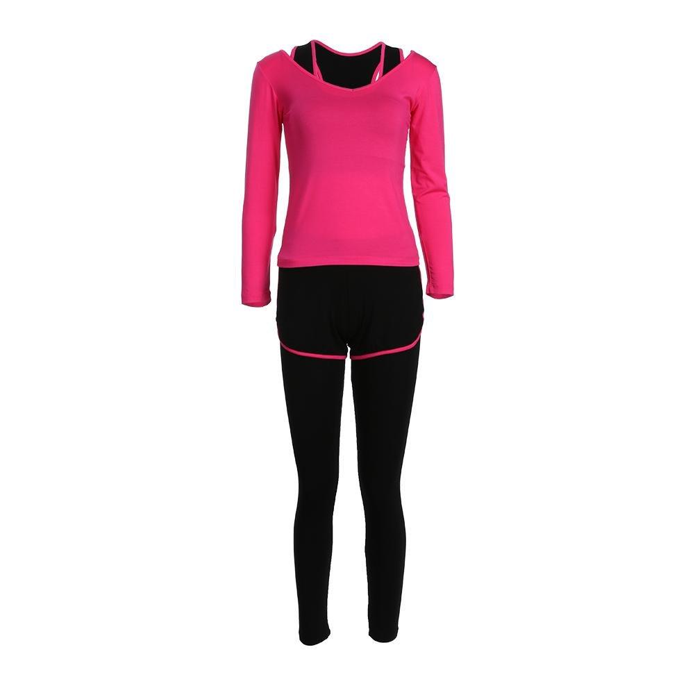 Small, Rosa ZETIY Damen 5er-Set Strech Tights Sport Yoga Trainingsanzug