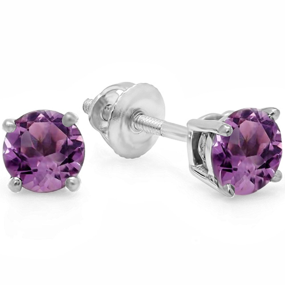 14K White Gold 5.5mm each Round Cut Amethyst Ladies Solitaire Stud Earrings by DazzlingRock Collection