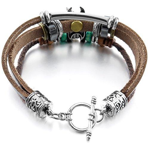 MunkiMix Alliage Genuine Leather Véritable Bracelet Bracelet Corde Corde Ton d'Argent Brun Croix Ange Aile Surfer Enveloppez Enrouler Tribal