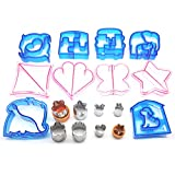 Havenport 18 Pieces Sandwich Cutters, 10 Plastic Cookie Cutters and 8 Stainless Steel Shapes Cookie Cutters Bread Crust Shaper for Kids(OR)