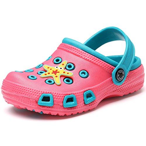 VILOCY Kid's Cute Garden Shoes Cartoon Slides Sandals Clogs Children Beach Slipper Pink,31 (Cute Childrens Shoes)