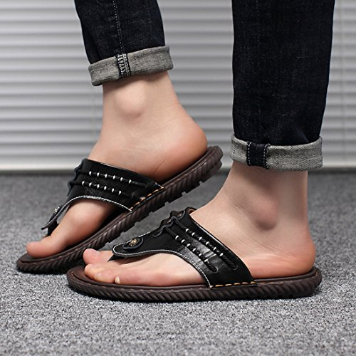 Tda Heren Slip-on Stitching Leer Zomer Slippers Casual Strand Slippers Zwart