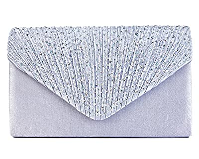 Charming Tailor Clutch Purse Evening Bag Envelope Diamante and Pleated Flap Handbag