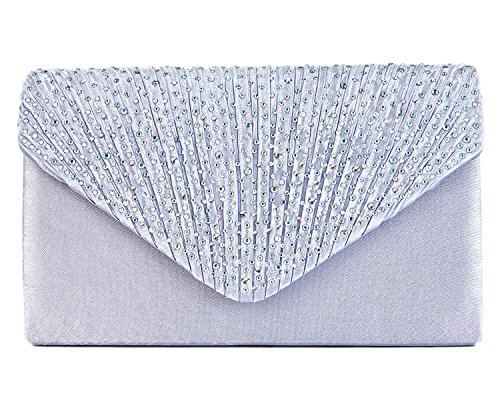 (Charming Tailor Clutch Purse Evening Bag Envelope Diamante and Pleated Flap Handbag (Silver))