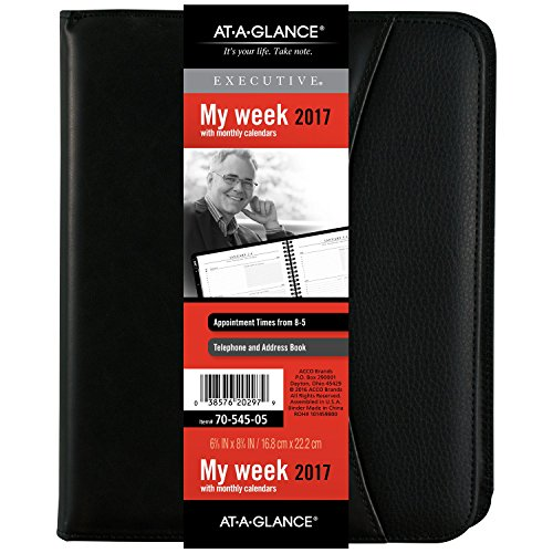 "AT-A-GLANCE Weekly / Monthly Appointment Book / Planner 2017, 6-5/8 x 8-3/4"", Black (7054505)"