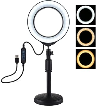 18cm-28cm 6.2 inch 3 Modes USB Dimmable LED Ring Vlogging Video Light Camera /& Photo Products Round Base Desktop Mount Adjustable Height