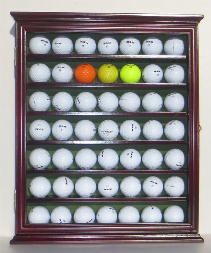 49 Novelty Golf Ball Display Case Cabinet Shadow Box, with glass door, Cherry Finish, Outdoor Stuffs