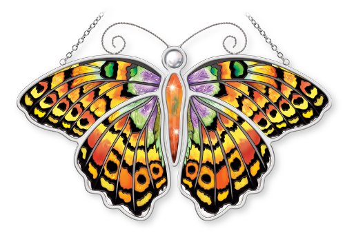 Amia Meadow Fritillary Butterfly Hand Painted Glass Suncatcher, Multicolored, 10-1/2-Inch