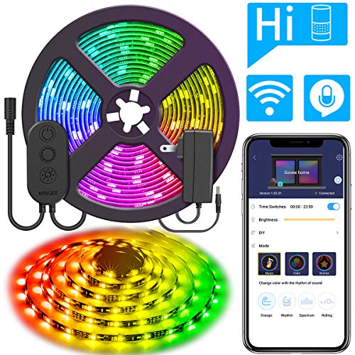 DreamColor 16.4ft LED Strip Lights, MINGER WiFi Wireless Smart Phone Controlled Light Strip 5050 LED Lights Sync to Music, Work with Amazon Alexa, Google Assistant Android iOS (Not Support 5G WiFi) ()