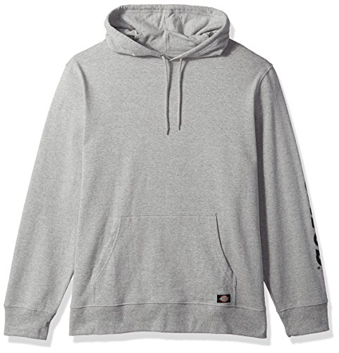 dickies Men's Regular Fit Hooded Fleece Pullover, Heather Grey, Large (Dickies Sweatshirts Mens)