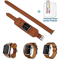 3 in 1 Apple Watch Leather Cuff Band,Eoso [Bracelet/Single/Double] Leather Loop Band for Apple Watch,Sport,Edition Models(Band Cuff Brown,42mm)