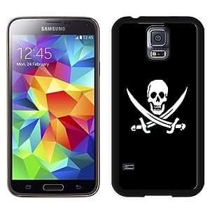 NEW Unique Custom Designed Samsung Galaxy S5 I9600 G900a G900v G900p G900t G900w Phone Case With Jolly Roger Pirate Skull Black And White_Black Phone Case