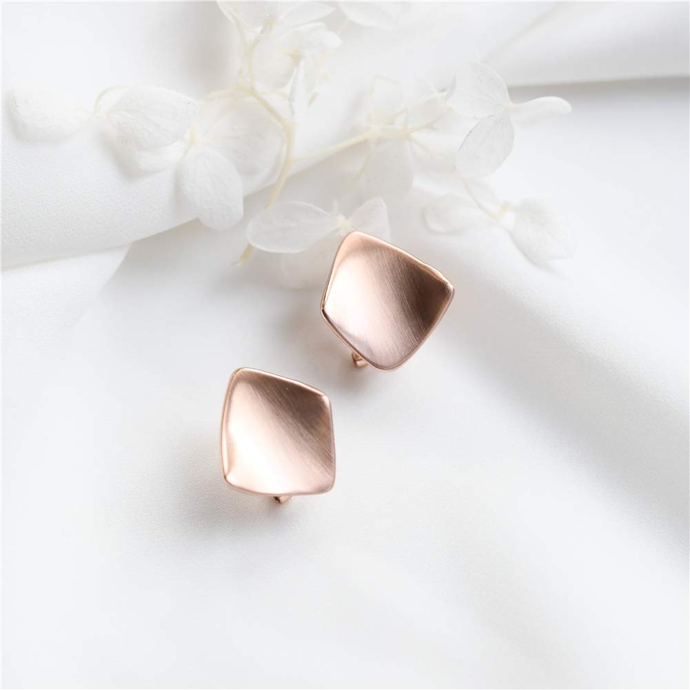 MIUPER BLOsssM Rose Gold Plated Alloy Minimalist Geometric Brushed Simple Big Curved Square Stud Earrings for Women