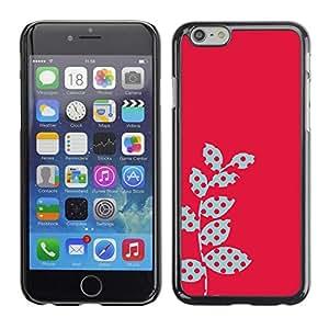 FECELL CITY // Duro Aluminio Pegatina PC Caso decorativo Funda Carcasa de Protección para Apple Iphone 6 // Polka Dot Raster Pink Red Leaves