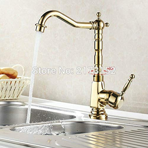 Gold Plated Kitchen Faucet Luxury Solid Style Long Mouth Swivel Basin Sink Mixer Tap G-034 by Tyrants Fauceting (Image #3)