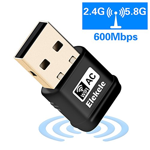 Elekele WiFi Adapter 600Mbps Wireless USB Network Adapter 802.11ac Dual Band 2.4G/5G with WPS Function for Desktop/Laptop/PC,Support Windows XP/Vista/7/8/8.1/10,Mac OS X 10.6-10.12
