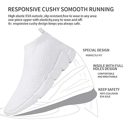 VAMJAM Men's Casual Athletic Sneakers Fashion Lightweight Breathable Mesh Running Shoes White 43