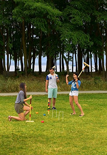 Indoor Outdoor Croquet, Set of 23 Pieces, Wooden Material, Mallets And Balls Included, Ideal For Outdoor Spaces, Easy Assembly, Instructions Included, Easy Storage And Transportation & E-Book by S.N