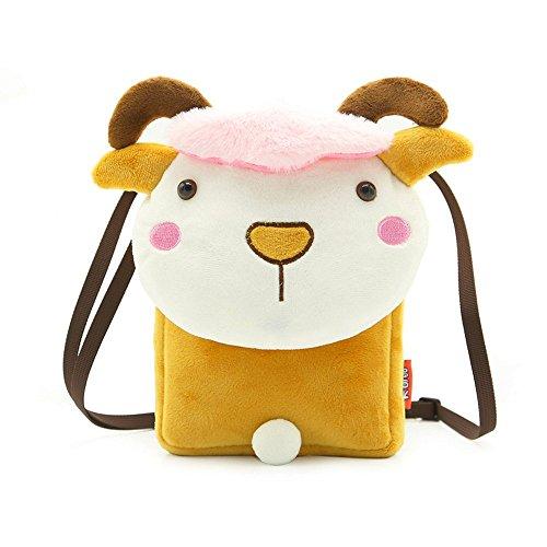 Funny Plush Animal Mini Bags for Children Toddler Baby Kids Cartoon Shoulder Handbag Mini Crossbody Messenger Bags Packet (F)