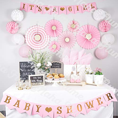 Pink Baby Shower Decorations for Girl | Girl Baby Shower Decorations | Baby Girl Shower Decorations| Pink and Gold Baby shower Decorations | Baby Shower Decor | Its a Girl Baby Shower Girl Decorations -