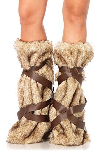 Sexy Viking Warrior Costumes (leg avenue women's warrior faux fur leg warmers with faux leather wrap detail costume accessory, tan, one)
