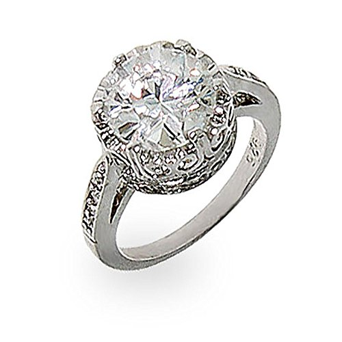 Eve s Addiction Crown White Cubic Zirconia Signity Star Cut CZ Ring