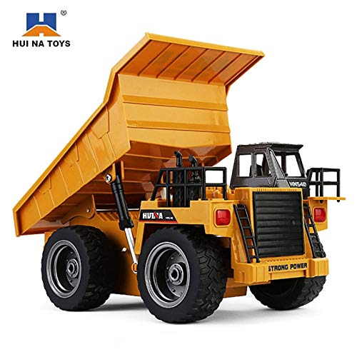 RC Cars - HuiNa 1540 RC Truck Toys Six Channel 6CH 1/12 40HMZ Metal Dump Trucks Remote Control Toys RTR with Charging Battery Alloy Truck - by Tini - 1 PCs