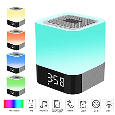 LED Bluetooth Speaker Bedside Lamp,WONFAST Portable Multicolor Dimmable Night Light Touch Sensor Table Lamp Wireless Speakers ,Alarm Clock,TF Card Slot