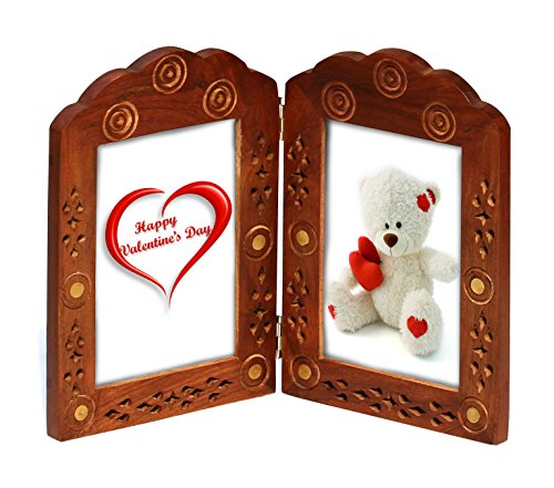 "Double Photo Picture Frame - Wood Two Photo Frame for 3.5""x5.5"" Photos Vintage-Look Hand-Carved Lattice & Brass Inlay Work - Tabletop Home Decor Accessories - Valentine's Day Gifts (Hand Carved Wooden Mantel)"
