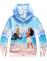 Girls Thin Zip Hoodie Moana Sweatshirt children Coat Cartoon Jacket Outwear