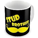 Indibni Rakhi Gifts Stud Brother Quote Printed Black Coffee Mug 325 ml Funky Gift on Birthday Anniversary Brother Sister Bond