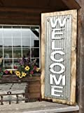 """WELCOME SIGN Vertical for Home *Rustic Metal Tin Welcome on Distressed Wood *Antique Red White or River Rock Blue Gray *36"""" LARGE XL *Inside *Outside *Great in Entryway, Porch, By Front Door"""