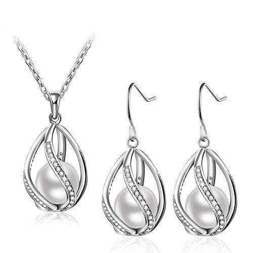 KAVANI Rose Gold Plated Elegant Pearl Pendant Necklace Earrings Set Jewelry Set for Women (Silver 3) (Pendant Earring Necklace Pearl)