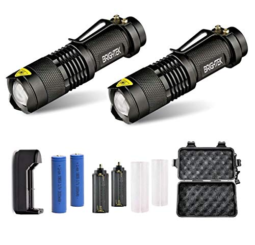 Portable Tactical Rechargeable Flashlights 2 pack, Super Bright Torch, High Lumen Flashlight with belt clip, Best Emergency Camping with 18650 Battery and Charger, 5 light Modes, Zoomable lamp (2)