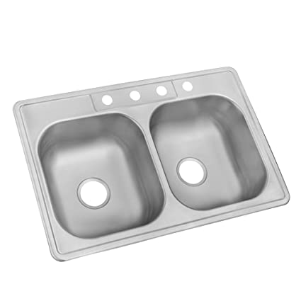 Glacier Bay Drop In Stainless Steel 33 In. 4 Hole Double Bowl Kitchen Sink      Amazon.com