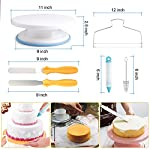 118 pcs Cake Decorating Supplies Kit Cake Baking Tools Cupcake Icing Tools Pastry Tools Cake Spinner Stand Cake Turntable 55 Cake Decorating Stainless Steel Tips for Kid Teen Beginner Birthday Party 9 REVOLVING CAKE TURNTABLE : Turns smoothly in clockwise or anticlockwise direction, allow you easily creating beautiful borders when decorate cakes. SAFETY MATERIAL : Cake piping set is made from high quality materials, quality stainless steel and durable plastic for fun & easy cake decorating. NO EXPERIENCE REQUIRED : With the accompanying guides and e-books, anyone can use these high-quality baking tools to make professional-looking cakes! This cake decor will help you make delicious cakes for your occasion at home.