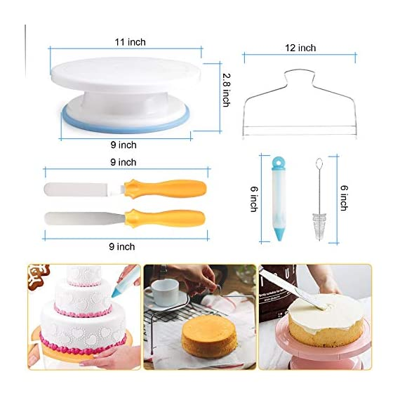 118 pcs Cake Decorating Supplies Kit Cake Baking Tools Cupcake Icing Tools Pastry Tools Cake Spinner Stand Cake Turntable 55 Cake Decorating Stainless Steel Tips for Kid Teen Beginner Birthday Party 2 REVOLVING CAKE TURNTABLE : Turns smoothly in clockwise or anticlockwise direction, allow you easily creating beautiful borders when decorate cakes. SAFETY MATERIAL : Cake piping set is made from high quality materials, quality stainless steel and durable plastic for fun & easy cake decorating. NO EXPERIENCE REQUIRED : With the accompanying guides and e-books, anyone can use these high-quality baking tools to make professional-looking cakes! This cake decor will help you make delicious cakes for your occasion at home.