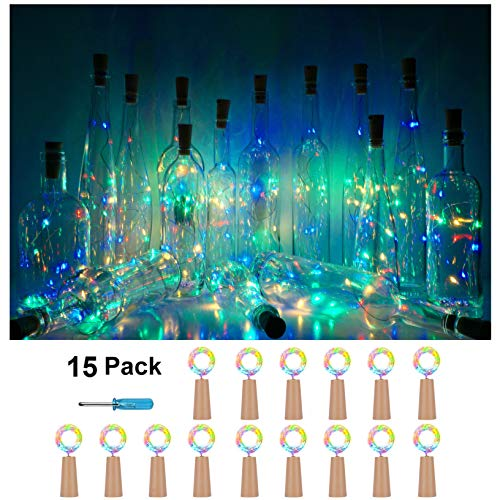 Wine Bottle Cork Lights, Battery Operated LED Cork Shape Silver Copper Wire Colorful Fairy Mini String Lights for DIY Party Christmas Halloween Wedding,Outdoor Indoor Dec,15Pack (Four Colors - Steady)
