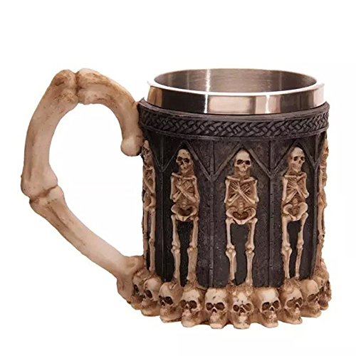 Gothic 3D Skull Coffee Mug - Stainless Steel Seleton Drinking Cup Mug for Beverage,Coffee,Beer,Blood Juice, Medieval Viking Warrior Skull Armor Drinkware Mug, Halloween Decor,Party Trick Cup]()