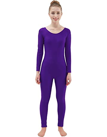 Ensnovo Womens Spandex Bodysuit Long Sleeve Scoop Neckline Footless Unitard 96bb7b81a