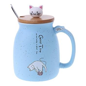 KINTRADE Sésamo Gato Taza de cerámica café Taza Resistente al Calor con Tapa de Cuchara Utensilios para Beber Regalos para niños Azul Claro: Amazon.es: ...