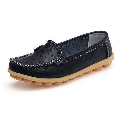 Las Mujeres Mocasines Cuero Zapatos Deslizamiento en Pisos Mocasines Casual cómodo Antideslizante Perla Zapatos al Aire Libre: Amazon.es: Zapatos y ...