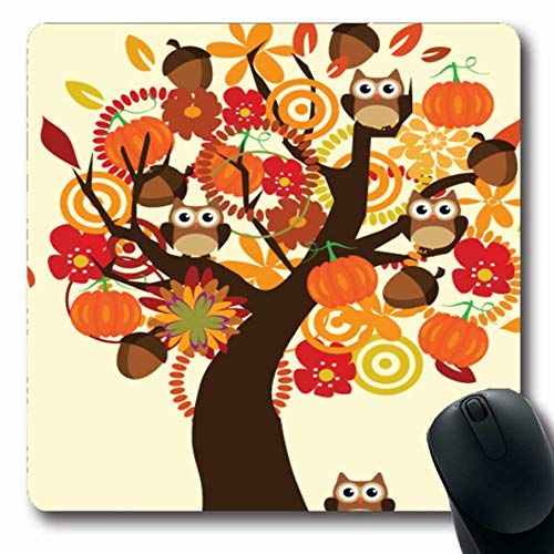 Ahawoso Mousepads for Computers Occasion Orange Thanksgiving Fall Tree Owls Display Pumpkins Flowers Patch Acorn Autumn Design Oblong Shape 7.9 x 9.5 Inches Non-Slip Oblong Gaming Mouse Pad