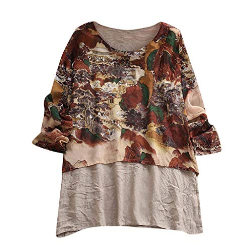 LUCA Womens Vintage Blouse Casual Long Shirt Top T-Shirts Plus Size(Coffee -