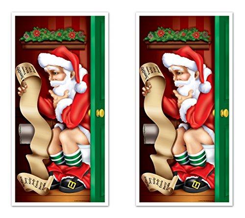 Beistle S20014AZ2 Santa Restroom Door Cover, - Santa Pooping