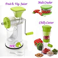 MR Products Plastic Fruit Vegetable Hand Juicer, Multi Crusher and Chilly Cutter Combo (Green)