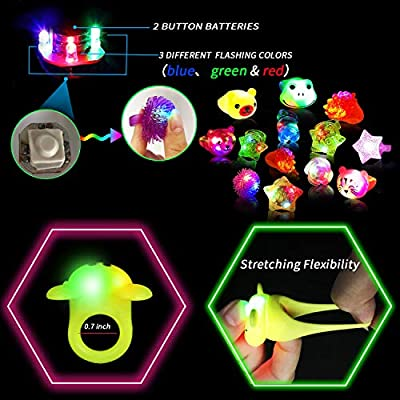 AY 46 Pack LED Light Up Party Favors for St. Patrick's Day Easter Kids and Adults Include 18 Pack Diamond Rings 12 Pack Animal Rings 10 Pack Jelly Rings and 6 Pack LED Shutter Shade Glasses: Toys & Games